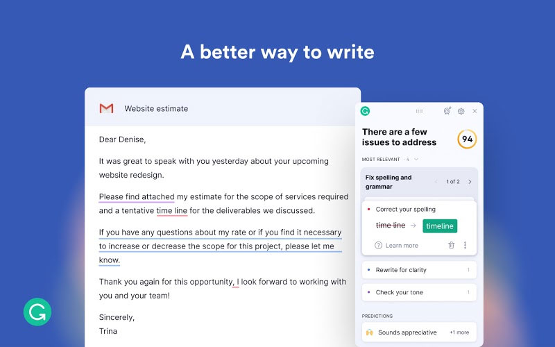 Grammarly - Best Productivity Chrome Extension