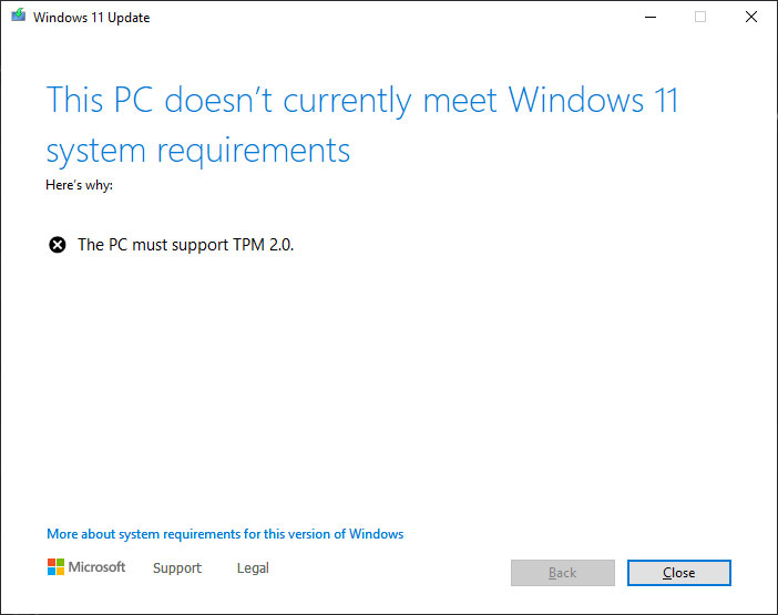 windows 11 hardware not supported