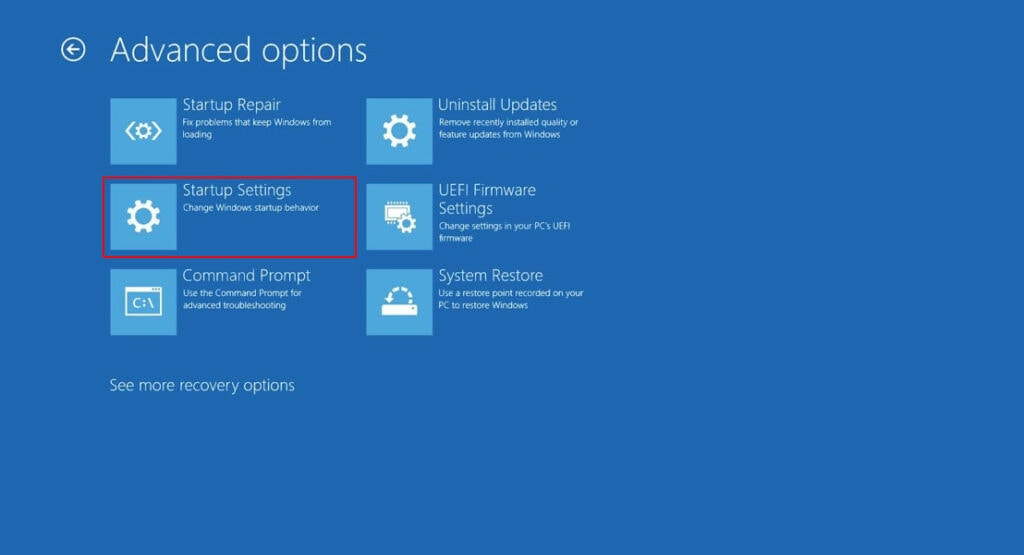 Use Advanced Startup Options to to Fix Windows 11 Black Screen with Mouse Cursor