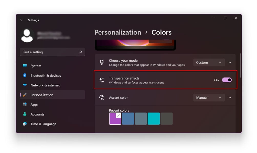 Using Personalization Options to make your taskbar transparent in Windows 11