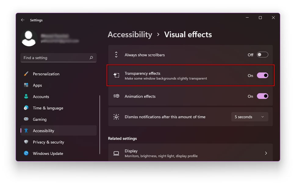 Using The Visual Effects Option to make transparent taskbar in windows 11